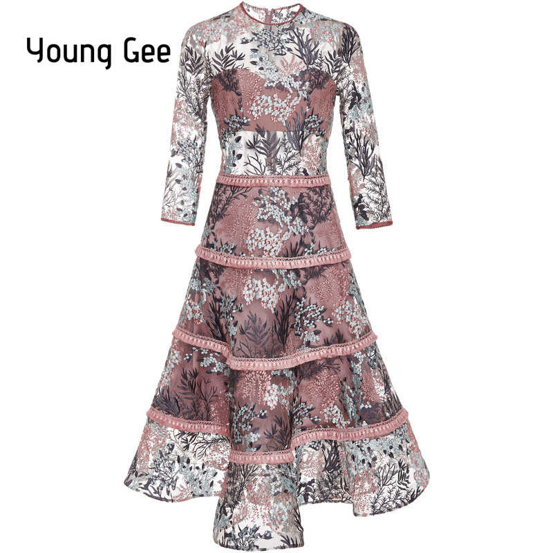 5826da420dc9 Young Gee 2019 Spring Women Elegant Floral Embroidery Lace Dress O-neck  Office Casual Slim