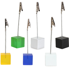 1 pcs Memo Holder Cube Wire Resin Base Photo Holder Card Note Memo Clip Display Gift  Home Storage Holders E5M1