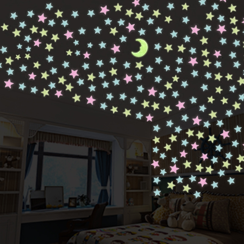 US $1.89 5% OFF|100 pc/pack Night luminous Stars+1 Moon Fluorescent 3D Wall  Stickers Children\'s Bedroom Stickers Glow In The Dark Stars-in Wall ...