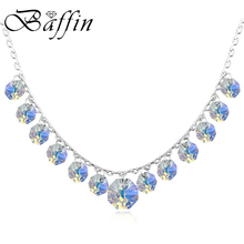 BAFFIN Bohemian Necklaces Tassel Crystals Made with Swarovski Elements Silver Color Jewelry For Women Wedding Party(China)
