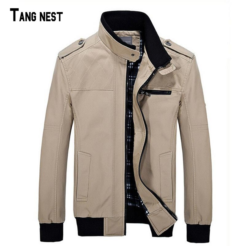 TANGNEST 2019 New Fashion Men' Solid Casual Slim Style Jacket Male Spring&Autumn Men Chaqueta Stand Collar Casual Jacket MWJ984