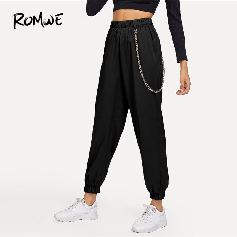 ROMWE Chain Detail Elastic Waist Pants 2019 Greet Streetwear Mid Waist Black Pants Stylish Spring Autumn Women Trousers Куртка