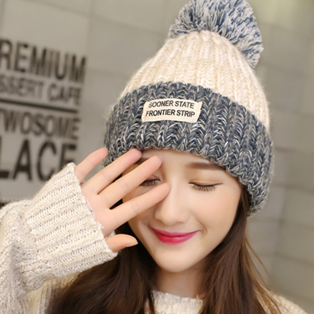 LongKeeper Women s Cap Beanie Knitted Hats Crochet Winter Hats For Women  Female Cute Casual Fur Pompom Beanies Ear Fur Pompom 17732e0b5b1f