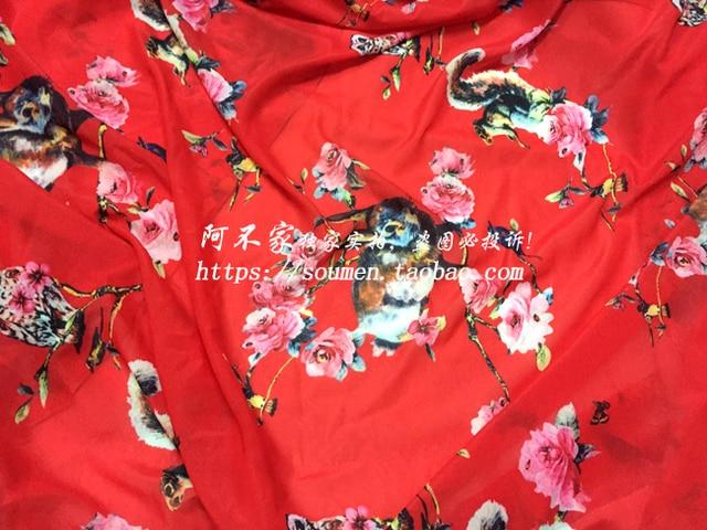 SS Mode blumen Eichhörnchen und Eule Digitaldruck stoff Rot Gelb Chiffon  Stoff tuch für kleidung DIY 63a1c00c1d