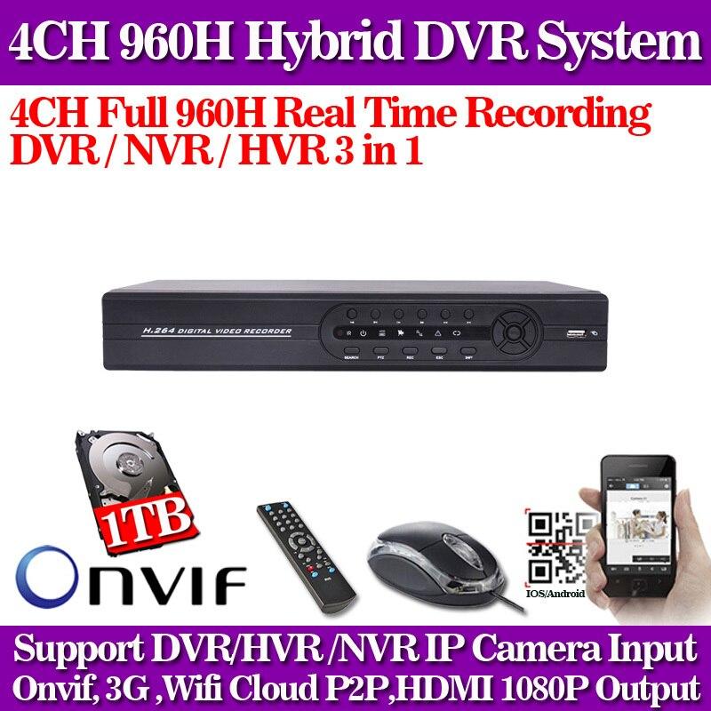 CCTV dvr 4ch 960h full D1 ONVIF Hybrid nvr hvr 1080p HDMI p2p cloud digital video