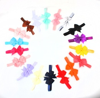 10pcs/lot New Design kids Ribbon Bow Tie Headband DIY Grosgrain Ribbon Bow Elastic Hair Bands Hair Accessories 1