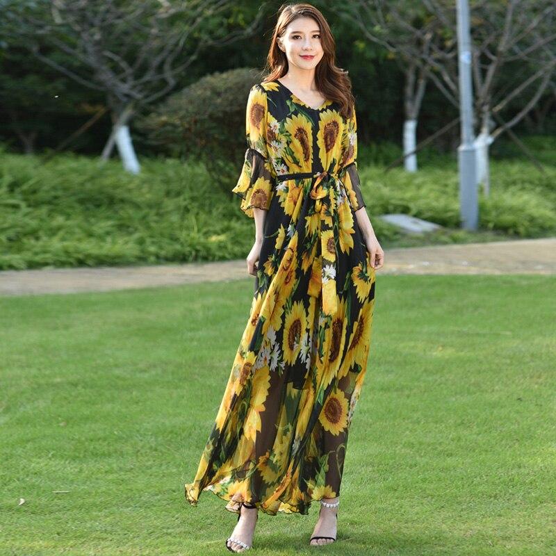 Numérique impression Floral de Mousseline de Soie robe maxi Robe D'été pour jardin vacances parties mariages grande taille robe maxi avec manches