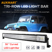 Auxmart 702W 50 Curved LED Light Bar 3 Row Combo Beam Car Styling Offroad Led Work Light for ATV Truck Pick Up SUV 4X4