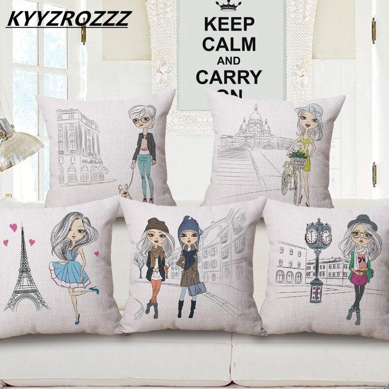 Cute Girls Cushion Cover Japanese Style Printed Cartoon Fan Cherry Girl Pillow Cover Chair Sofa Square Throw Pillowcase