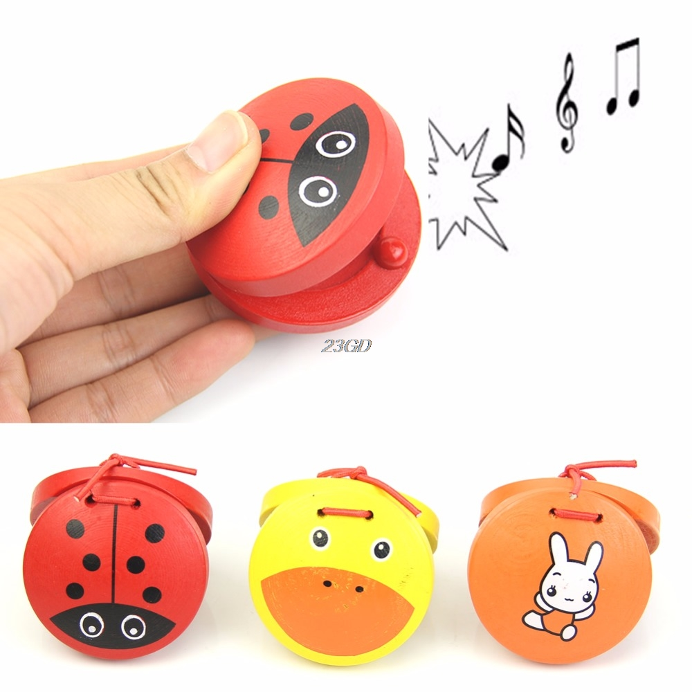 Kid Children Cartoon Wooden Castanet Toy Musical Percussion Instrument Gift
