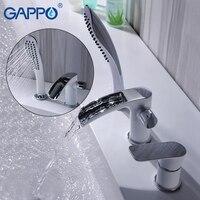 GAPPO Bathtub faucet white tub faucet rainfall bath tub taps shower mixer tap wall mount shower faucet set robinet baignoire