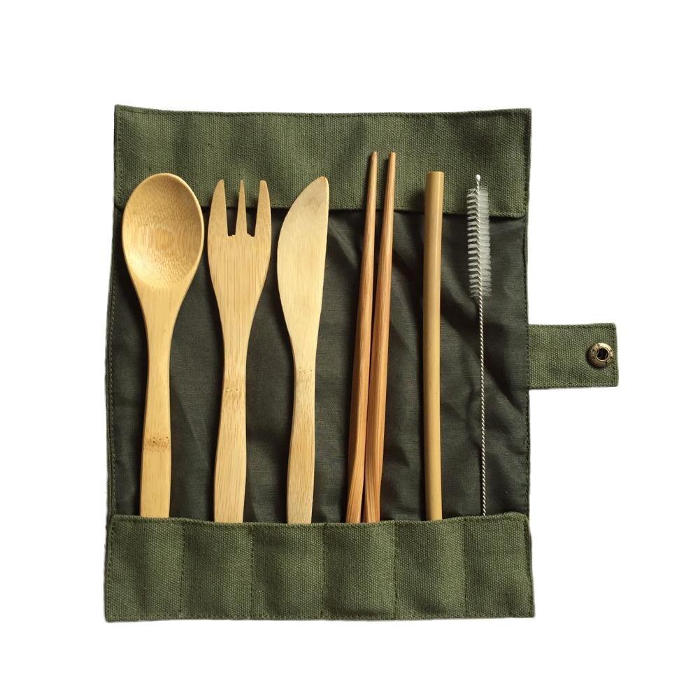6-stück Japanische Holz Besteck Set Bambus Besteck Stroh Besteck Set Mit Tuch Tasche Küche Kochen Werkzeuge Dropshipping