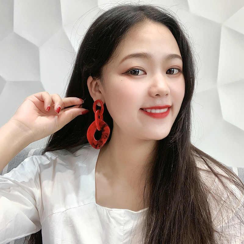 DREJEW Big Red Blue Acrylic Circle Statement Earrings 2019 925 Alloy Drop Earrings Sets for Women Wedding Fashion Jewelry HE8641