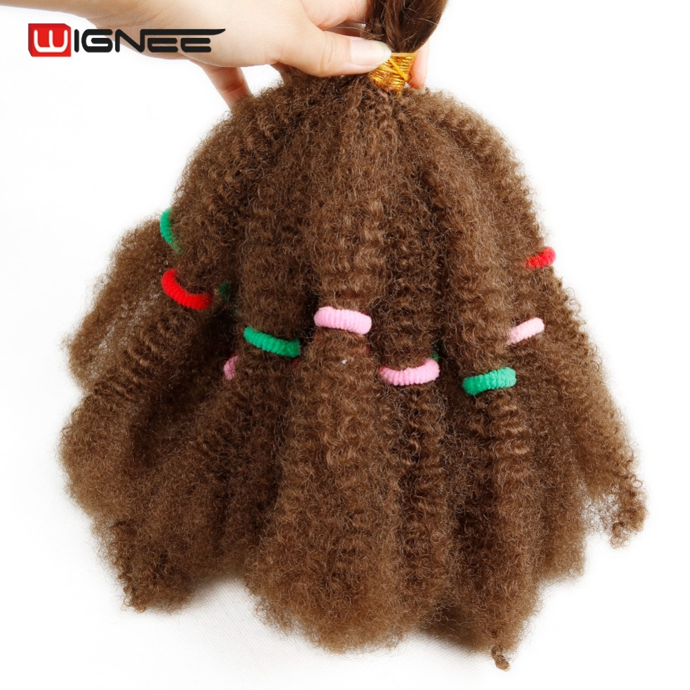 Wignee Afro Kinky Bulk Synthetic Hair Extension For Women Crochet Twist Braiding Hair Bundle Natural Black For African American