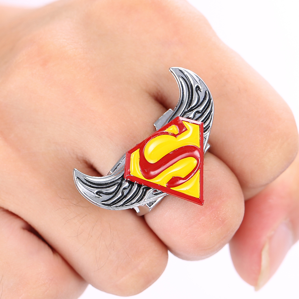 Superman Logo Personality Rings Angel Wings Rotatable High Quality