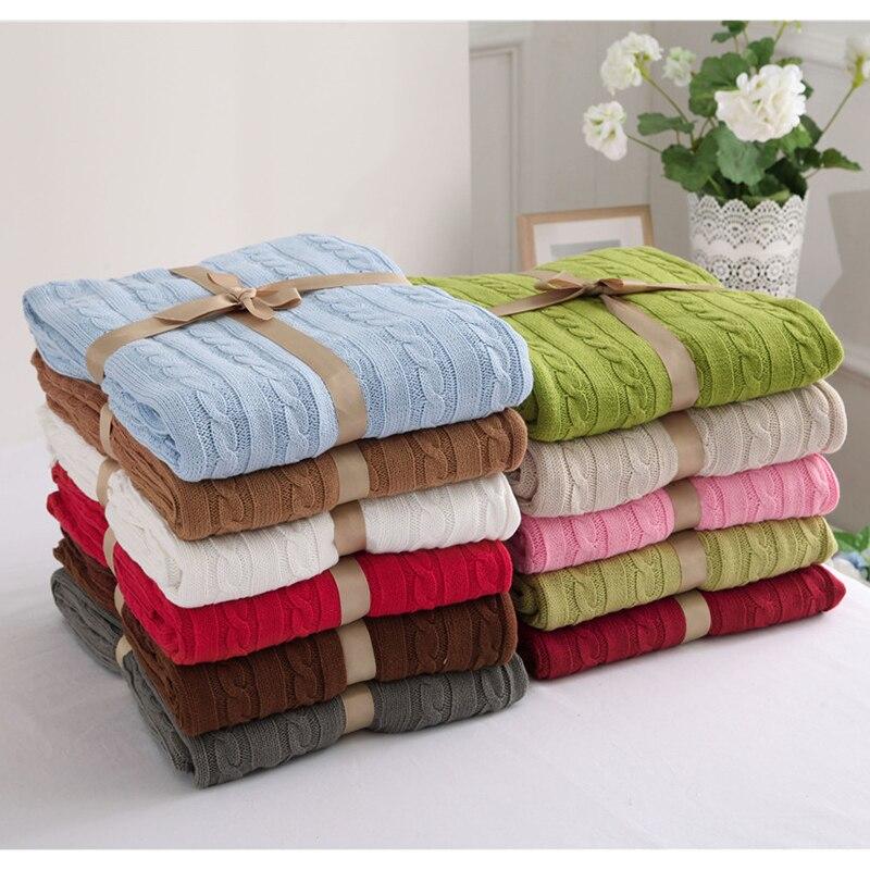 100% хлопок высокое качество Одеяло ручной работы мягкие трикотажные сплошной Цвет плед Пледы Одеяло на диван-кровать плоскости теплые покры...