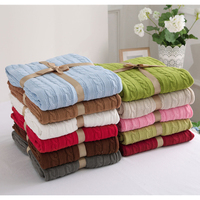 100% Cotton High Quality Blanket Handmade Soft Knitted Solid Color Plaid Throw Blanket On Sofa Bed Plane Warm Bedspreads
