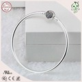 Popular and Fashion Famous European Brand Silver Bangle With White Heart Stone Clasp Clip