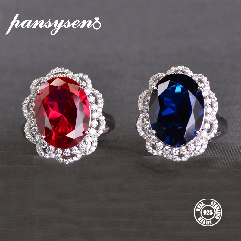 PANSYSEN 925 Sterling Silver Created Red Ruby Sapphire Rings For Women Vintage Open Ring Fine Jewelry Anniversary Gift