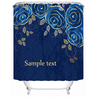 Vixm Waterproof Curtain for Bathroom Bath Screen Elegant Blue Roses Shower Curtain Personalized Custom Shower Curtain