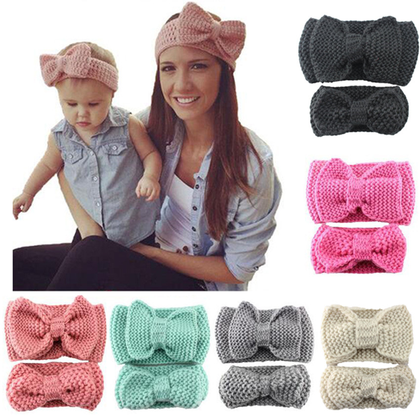 2pcs Baby Mom Crochet Bow Knot Turban Knitted Head Wrap Hairband Infant Cute Winter Ear Warmer Headband Hair Band Accessories