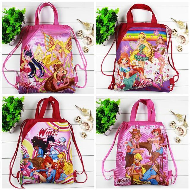 4 шт./лот Winx Дітей Мультфільм Drawstring шкільні сумки для Дівчаток, Дитячий День Народження Фавор, Mochila Школа Діти рюкзак
