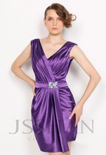 free shipping 2013  crystal Celebrity V-Neck Ruching Rhinestone Clubwear Cocktail Dress short Evening dresses