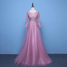 2017 New wedding Long sleeves Lace beading Long Tulle Evening dress Party prom Dresses Pink Red Blue gray Robes Vestido de festa