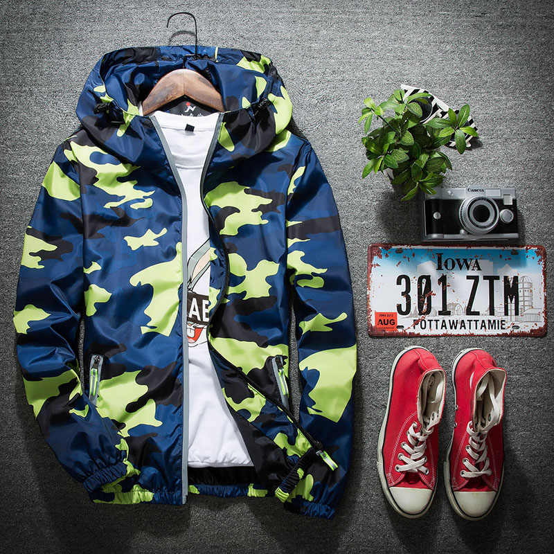 5e1a9493bfc3 ... 2019 New Autumn Men Bomber Jackets Casual Thin Hooded Reflective  Camouflage Jacket Windbreaker Men Plus Szie ...