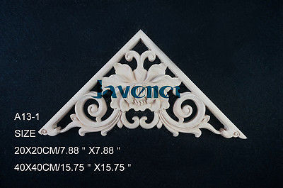 A13-1 -40x40cm Wood Carved Corner Onlay Applique Unpainted Frame Door Decal Working Carpenter Decoration