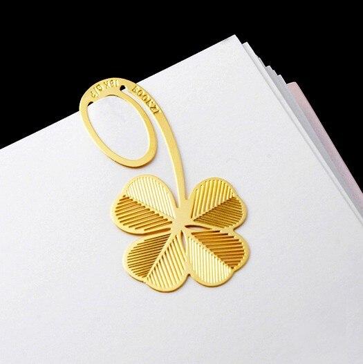 ᐂMarcadores creativos del metal que talla color de oro trébol de ...