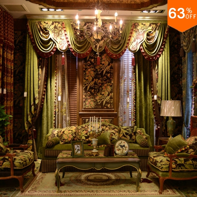 The Secret Garden luxurious Hook style valance curtains for living room curtains Hall window valance Green palace Hotel Curtain
