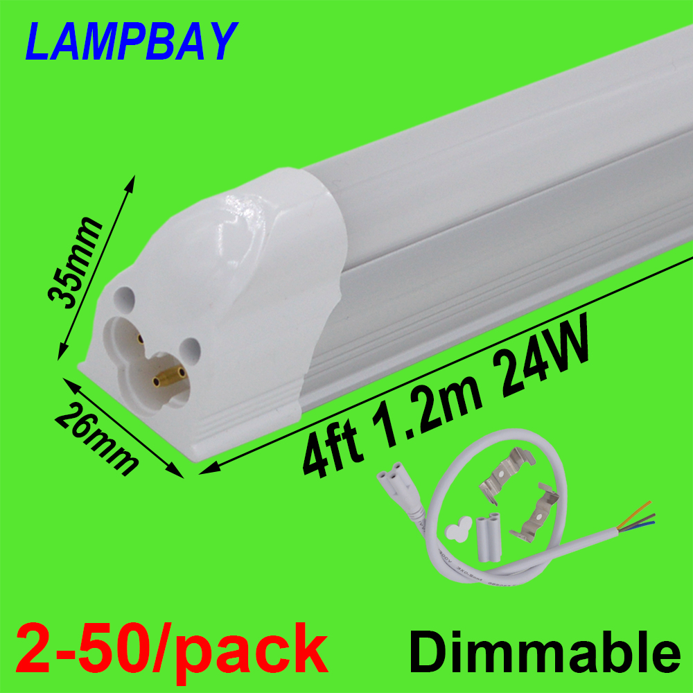 2 50 pack Dimmable LED Tube Light 4 feet 1 2m 20W T5 Integrated Bulb Fixture