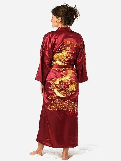 Бургундии Китайских женщин Шелковый Атлас Одеяние Вышивка Кимоно Ванна Платье Дракон Sml XL XXL XXXL