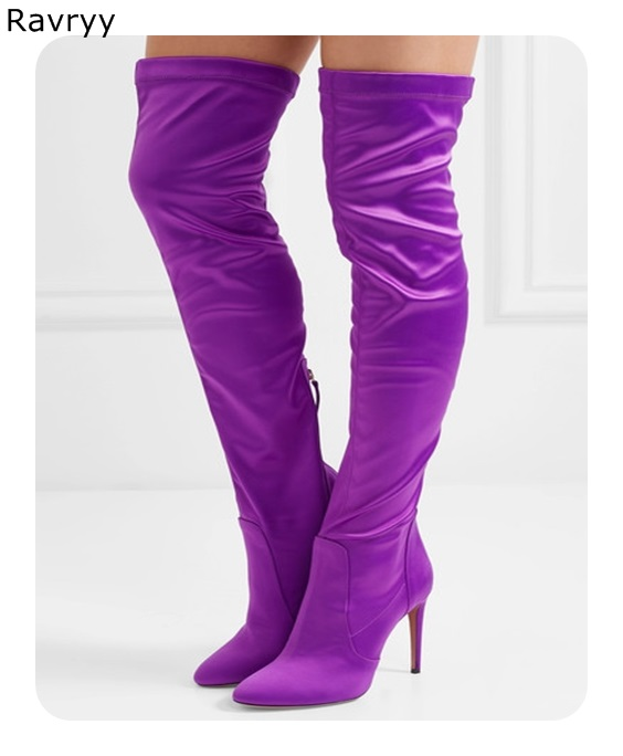 Purple Elastic Leather Woman Long Boots 2018 Autumn Winter Fashion Female Shoes Woman Over-the-knee Boots Pointed Toe Thin Heel цена 2017
