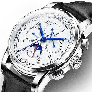 KARNEVAL Uhr Männer Automatische Mechanische Männer Uhren Luxus Marke relogio masculino Saphir mondphase Herren Uhr C 8781 5-in Mechanische Uhren aus Uhren bei