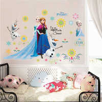 Lovely Olaf Elsa Anna Princess Wall Stickers For Kids Room Home Decoration Diy Girls Decals Anime Mural Art Frozen Movie Poster