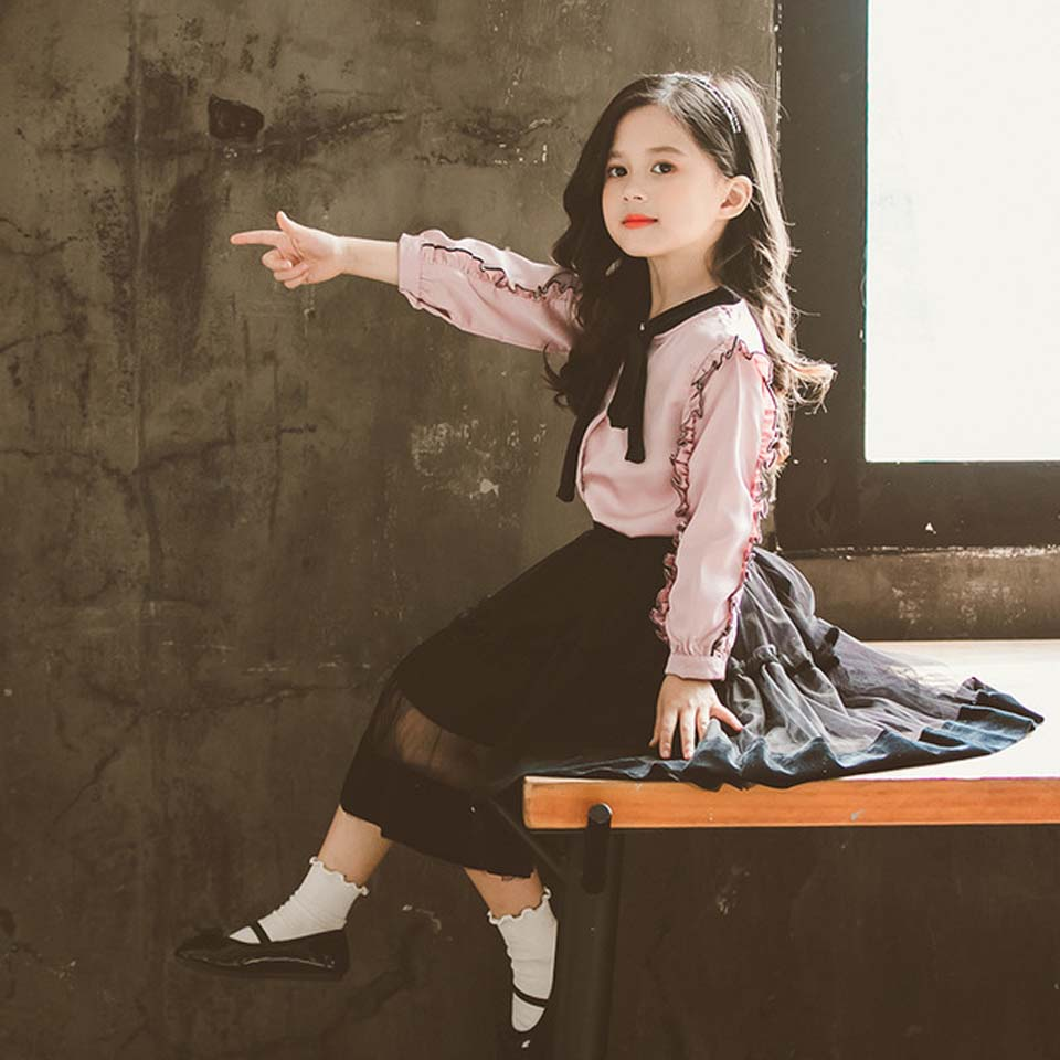Girl's Clothes Sets 2019 New Products Kids Clothing Baby Solid Bow Top+Skirt 2Pcs Suits Children Lace Skirts Top Quality