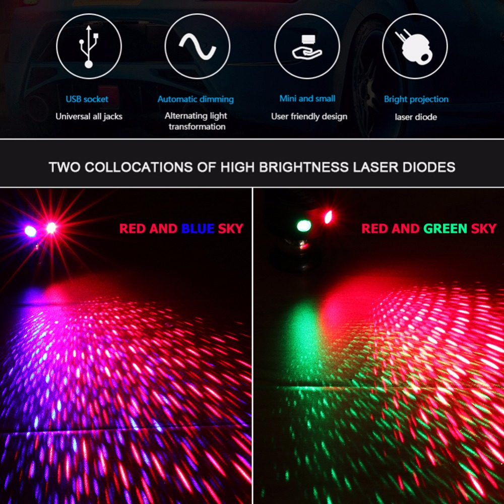 USB Starry Sky Car LED Interior Light with Remote Control LED Panel Interior Auto Light Dome Festoon Interior Atmosphere Lamp
