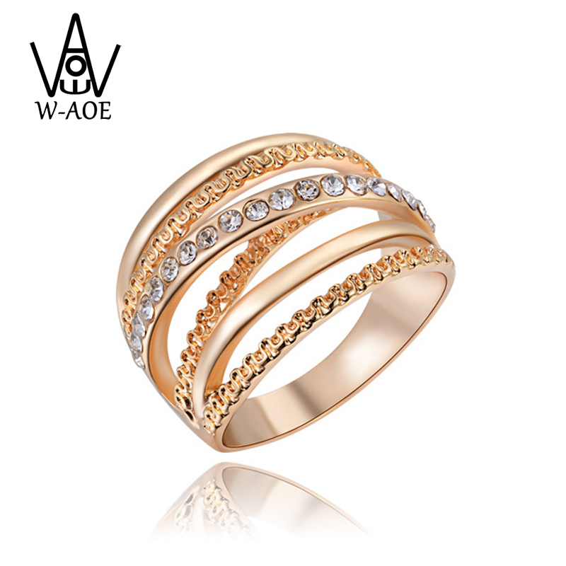 2017 New Design Fashion Luxury Rose Gold Color Multilayer Cross Ring Genuine AAA Austrian Crystal Wedding Rings For Women Gift