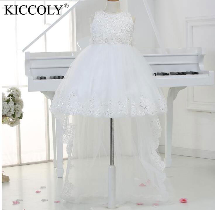 White Princess Children Flower Girl Dresses For Weddings Kid Girls Lace Party Pageant Dress With Long Train For Baby Glitz dc5016 5020 toner chip laser printer cartridge chip reset for xerox dc5016 5020 drum chip
