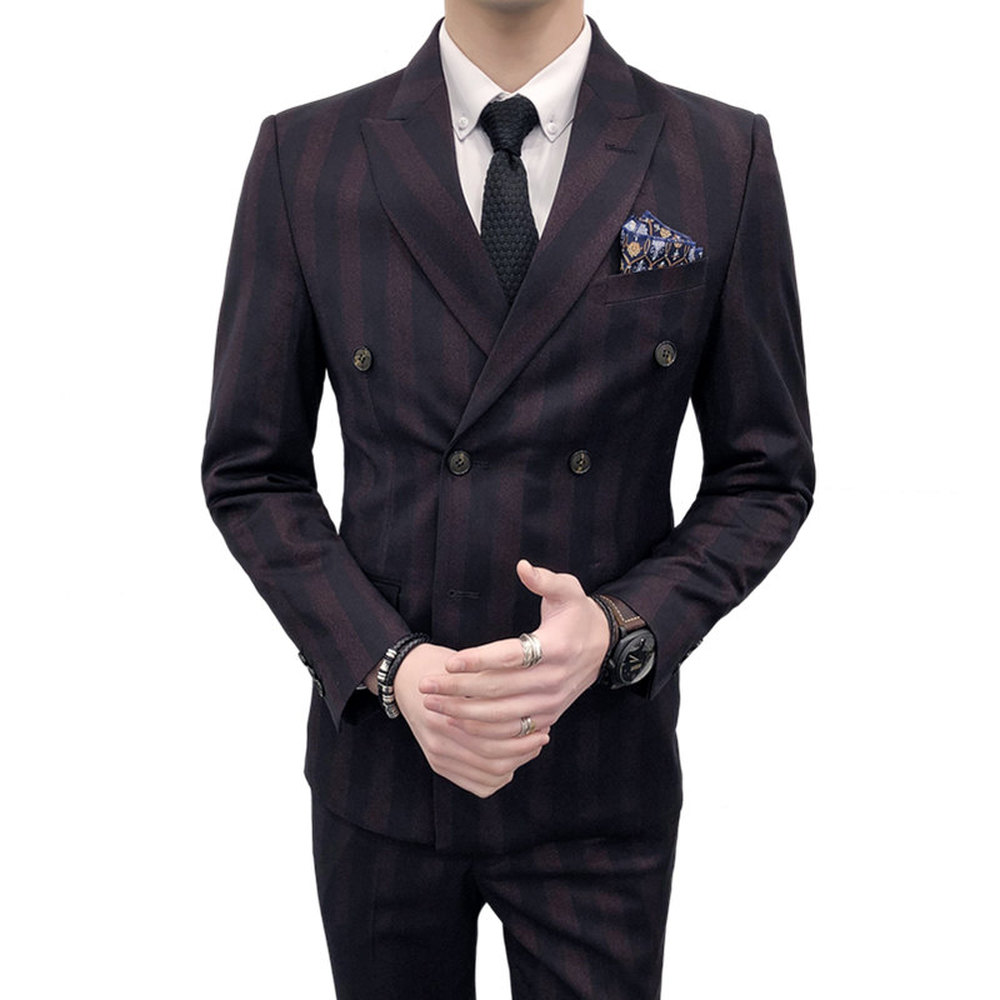 New Male Suit 3 Pieces Set Double Breasted Wedding Groom Suit With Pants For Men Wedding Striped Suits Prom Best Man Hot Sell