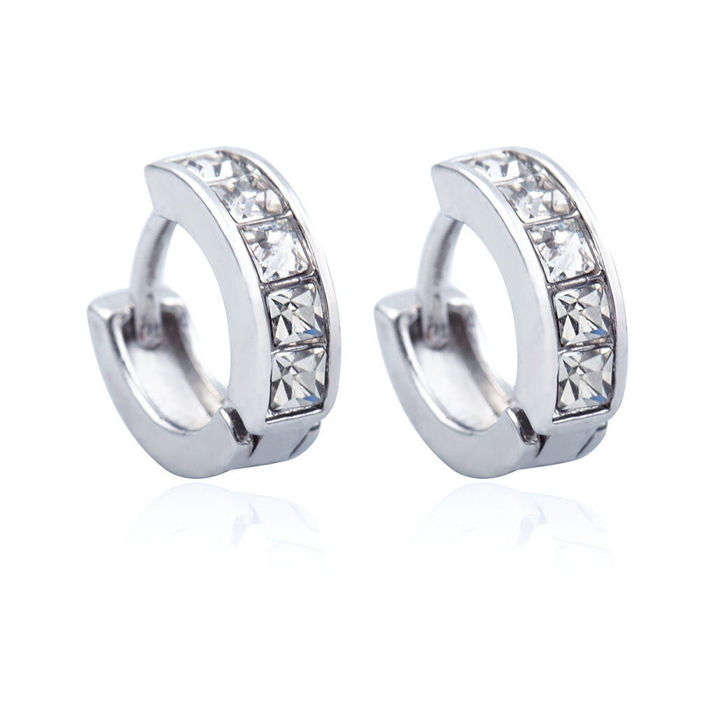 Fashionable Silver-plated Zircon Earpins With Hollow Earrings Women