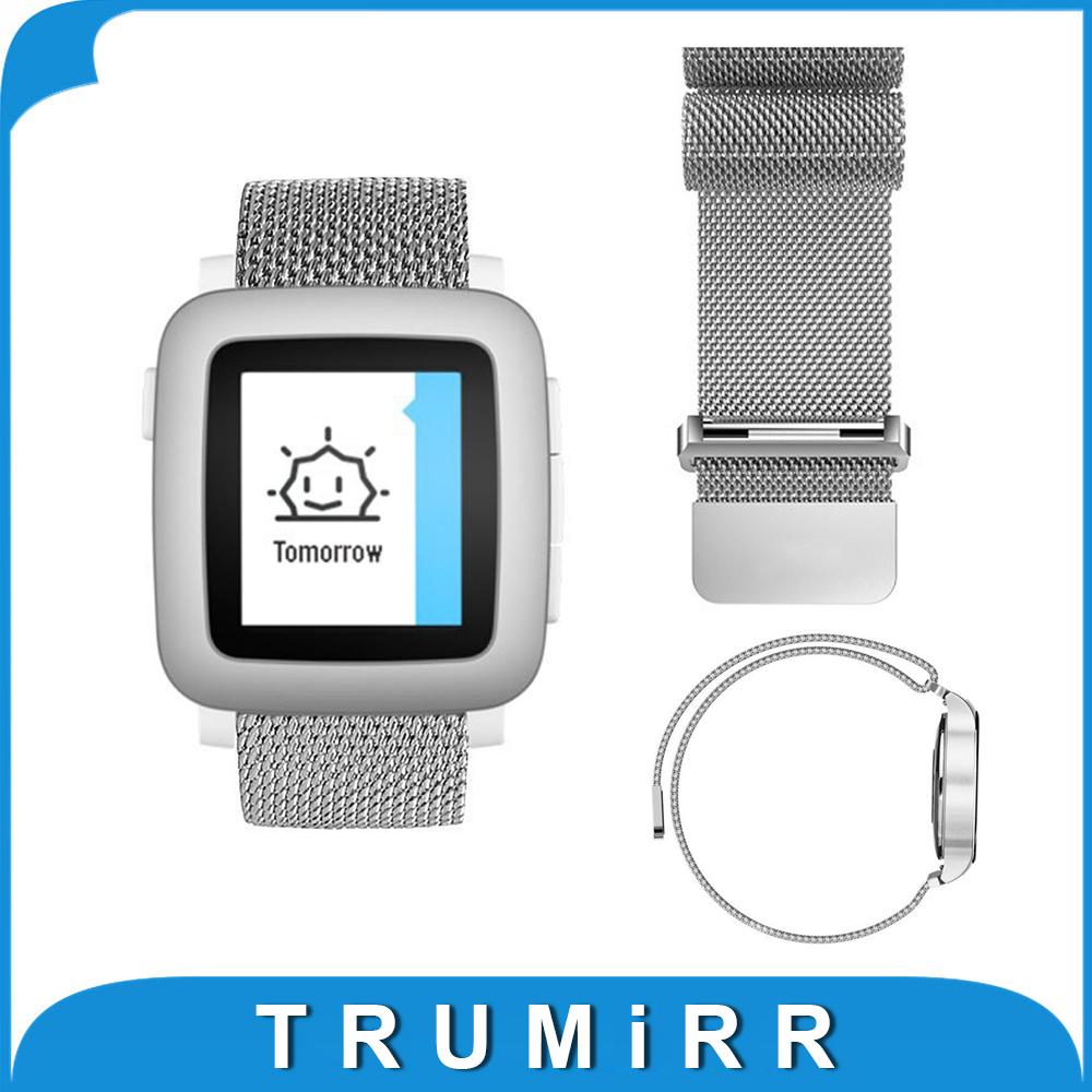 Prix pour 22mm Milanese Boucle Bande En Acier Inoxydable Bracelet Magnétique Bracelet pour Pebble Temps Acier ASUS Zenwatch 2 Lg G Watch W100/W110/W150