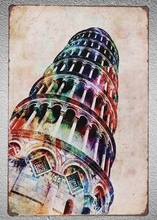 1 pc Pisa Tower Historical  Tin Plate Sign wall man cave Decoration Art Poster metal vintage home last man in tower