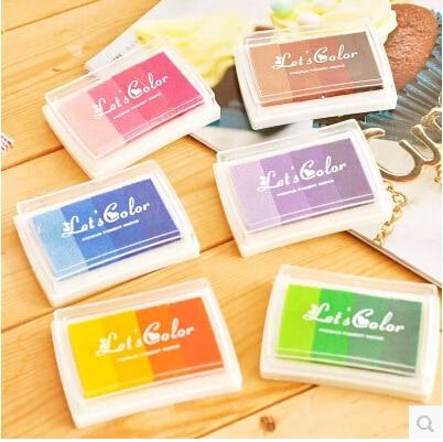 1 UNIDS 6 estilo Inkpad almohadilla de sello de tinta colorida de la - Artes, artesanía y costura