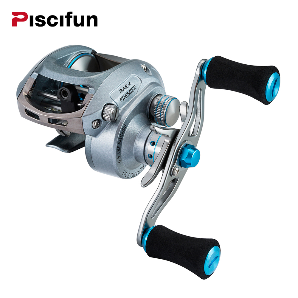 Piscifun Saex Premier Fishing Reel 7BB 7.3: 1 Gear Ratio 179g Aluminum Right or Left Hand High speed Baitcasting Fishing reelPiscifun Saex Premier Fishing Reel 7BB 7.3: 1 Gear Ratio 179g Aluminum Right or Left Hand High speed Baitcasting Fishing reel