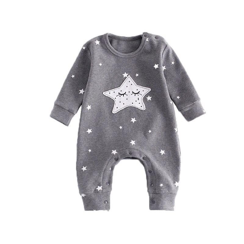 Neue Babyspielanzug Herbst Baby Junge Mädchen Overall Stern Und Mond Lächelndes Langarm Neugeborenen Kleidung Ropa Recien Nacido