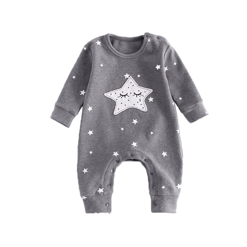 New Baby Rompers Autumn Baby Boy Girl Jumpsuit Star And Moon Smiling Long Sleeve Newborn Infant Clothing Ropa Recien Nacido myofunctional infant trainer phase ii hard oringal made in australia infant primary dentition trainer girls