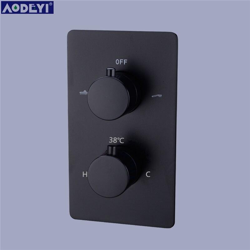 Messing Schwarz 3 Möglichkeiten Thermostat Armaturen Rainfull Badezimmer Dusche Wasserhahn Set Mit Dusche Auslauf Handheld Dusche Kopf
